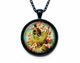 Bird nest pendant Bird nest necklace Bird nest jewelry nature necklace (PBN00003)