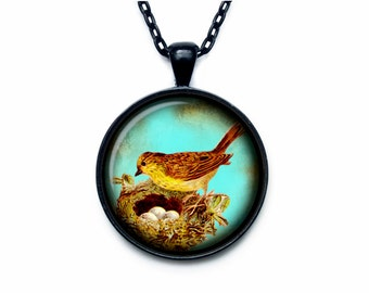 Bird nest pendant Bird nest necklace Bird nest jewelry nature necklace (PBN00005)