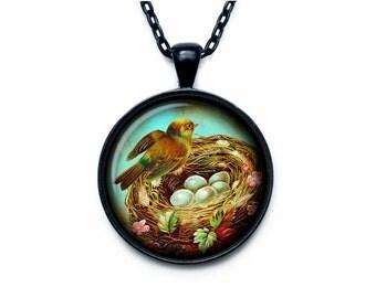 Bird nest pendant Bird nest necklace Bird nest jewelry nature necklace (PBN00007)