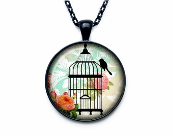 Bird cage necklace Bird cage pendant Bird cage jewelry