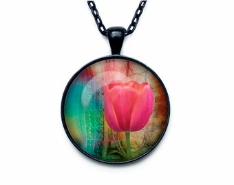 Tulip pendant Tulip necklace Tulip jewelry flower necklace