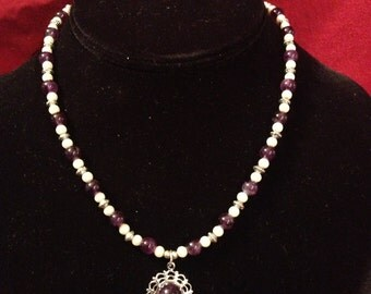 Amethyst & Pearl Renaissance-style Necklace