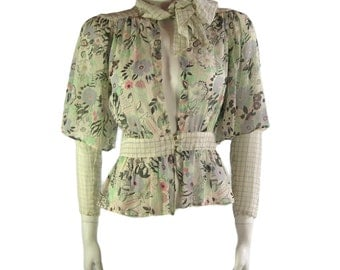 Vintage Ossie Clark Blouse with Celia Birtwell Print 1970s