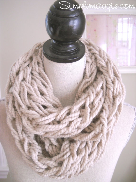 Arm Knit Scarf Pattern : SALE Arm Knit Infinity Scarf Chunky Scarf Circle by TheVelvetCove