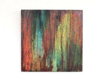 original abstract painting orange green blue industrial drip painting urban yellow brown rust wood Leah Fitts Left to the Elements
