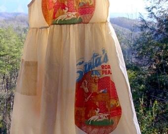 Vintage Christmas feed sack dress