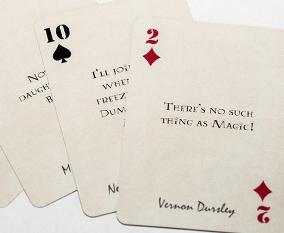 Harry potter quote playing cards by geekygamegifts on etsy for Love quotes for card