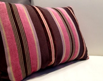 Striped Velvet, Satin & Cotton Rectangular Pillow