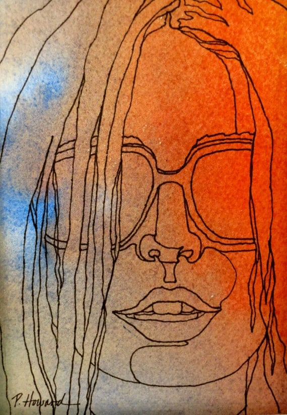 Abstract Face Line Drawing : Items similar to shady lady an original artwork ink