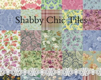 Shabby Chic Tiles - Digital Scrapbook Clipart Graphics Backgrounds