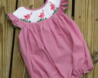 Smocked Romper Song Bird Bubble in Hot Pink Gingham