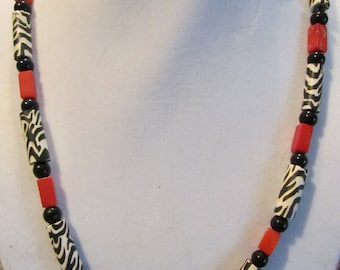 Zebra and Red Coral Necklace