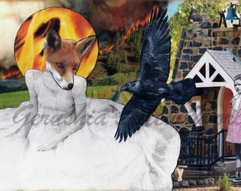 Serafine's Mountain - Anthropomorphic Watercolor Collage Print