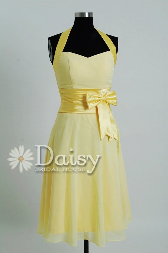 Halter & Sweetheart Yellow Chiffon Bridesmaid Dress,Short Yellow Dress,Yellow Cocktail Dress,Short Dresses,Short Bridesmaid Dress(BM0567308)