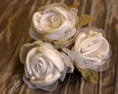 Set of three-white Satin roses with white wire stems-green leaves- embellishment-craft supply- hair accessory-supply