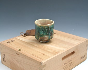 Green to Gold Raku Bowl, Green Raku Yunomi, Ceramic Green Raku Yunomi Pottery