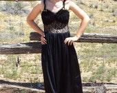 SALE 1990s Black Lace Cutout Maxi Dress