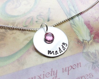 Personalized Hand Stamped Aluminum Name Necklace - Choose accessory, Name