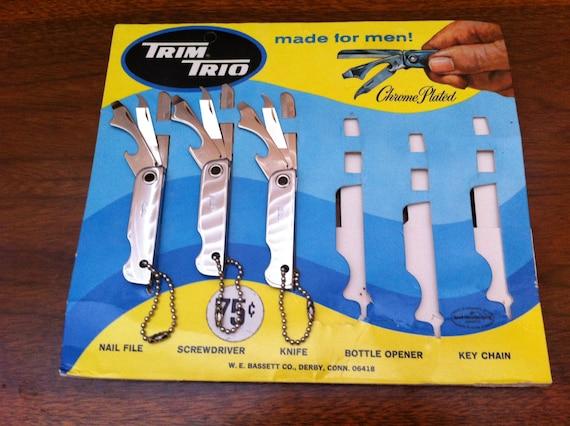 NOS Mid Century TRIM TRIO Pocket Knife - Vintage Multi-tool Knife - Deadstock