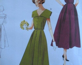 1950's Plus Size Dress Pattern, Vogue 1171  Reissue design, Size 16-22