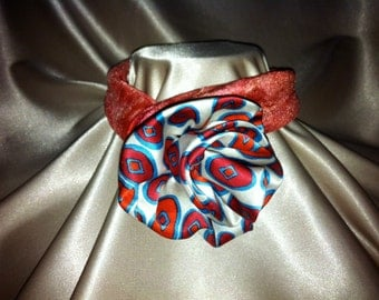 Upcycled - Tuck-a-Rose Scarf NeckTie Silk - Bright Red