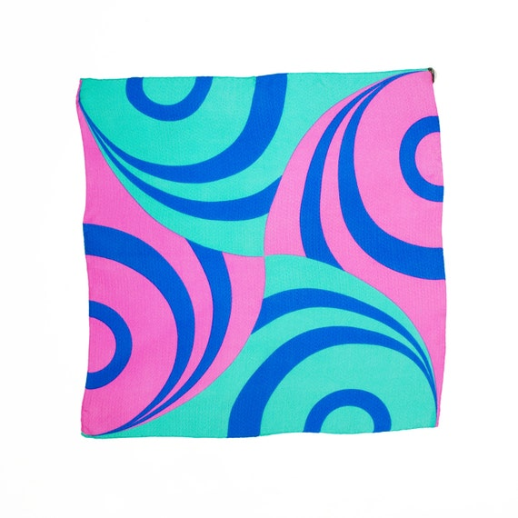 Original Vintage 1960s Silk Scarf Mod Pop Graphic Design Matisse Inspired  Pink Navy Turq Blue Green Violet- 4 Color Combos Made In Italy