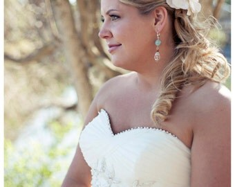 Something Blue, Crystal Quartz and Kyanite Dangle Bridal Earrings, The Brianna Earrings