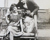 Vintage 1920's Beautiful Woman And Handsome Man Courtship Snapshot Photo