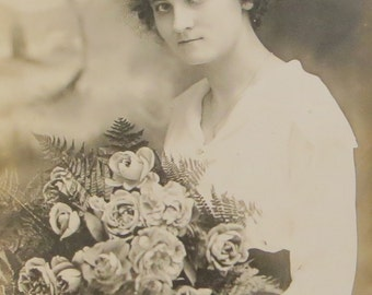 Vintage 1910's Lovely Young Woman With Large Rose Bouquet RPPC Real Photo Postcard - Free Shipping