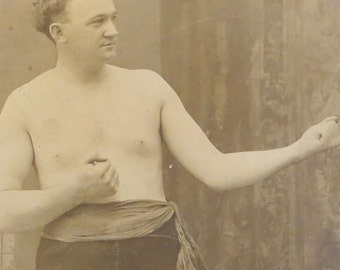 Original 1890's Bare Knuckle Boxer Ed Blakemore Cabinet Photograph - Free Shipping