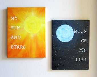 Game of Thrones Original Painting Set - My Sun and Stars / Moon of My Life Canvas Artwork - Khal and Khaleesi Quotes Art - Anniversary Gift