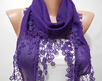 Purple Scarf Soft Cotton Scarf Cowl Scarf with Lace Edge Spring Summer Scarf Purple Wedding Scarf Women's Fashion Accessories Gifts For Her