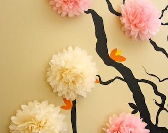 5 Mini Tissue Paper Pom Poms / Wall Decor / Nursery Decor / 3D Wall Art
