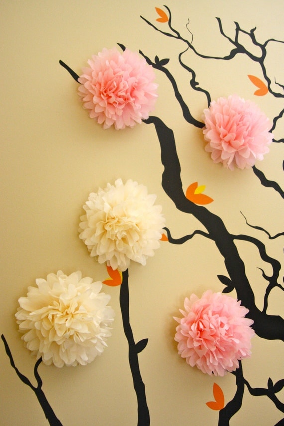 Wall Decor Tissue Paper : Mini tissue paper pom poms wall decoration nursery