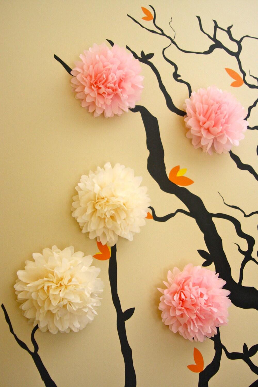 Pom Pom Decorations 5 Mini Tissue Paper Pom Poms Wall Decor Nursery Decor