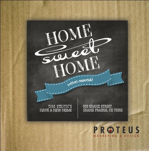 Chalkboard we39ve moved announcement new address card for Custom new address cards