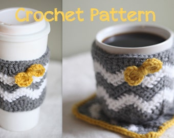 Crochet Pattern - Caffeinated Chevrons - Cup Cozy, Mug Cozy, & Mug Rug