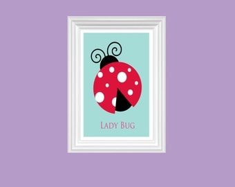 Ladybug Nursery Art Babby's room Print - Wall Art - Home Decor - 8x10 Print - Children Decor - Kids Room - Kindergarten Decor - Playroom