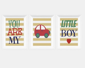Red Car Quote Nursery Art -You Are My Little Boy Print Car Wall Art Baby's room Home Decor Kids room Set of 3 - 8x10 Prints Boy's Room