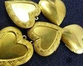 10 pcs 40 X 42 X 8 mm Metal Victorian Locket Charms Pendants, Golden, Heart - 10500032-010