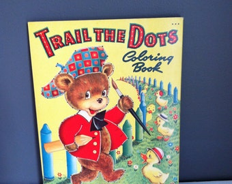 Vintage coloring book connect the dots 1948 new uncolored