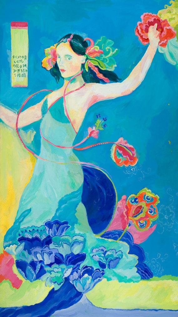 Blue Tibetan Poppy Goddess archival print by Kimberly Hodges, goddess art, sacred feminine art, tibetan poppy