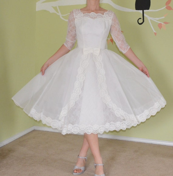 Wedding Dresses For Over 50s Uk: Vintage 50s 60s Wedding Dress Short Mini White Lace