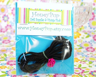 Black Twisted Cotton Cord - Midnight Rose + FREE GIFT!!!