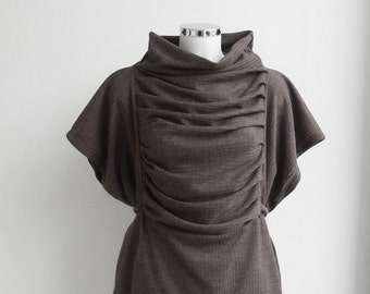 EMPIRE Tunic Blouse Vest Top Tank Pleated  Taupe Cappuccino - from Small till Plus Size Maternity - Adjustable - Customised Made to order