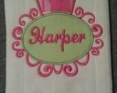 Crown Monogrammed Burp Cloth