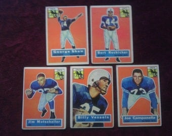 Set of Five Baltimore Colts Football Cards