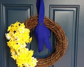 Yellow and Navy grapevine wreath