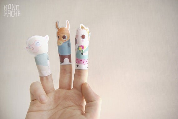 Finger puppets - Farm Birthday Party - printable paper toys - instant ...