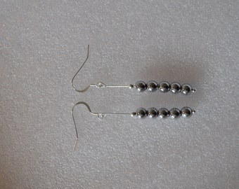 Dangling Hematite and Sterling Silver Beads French Hook Earrings